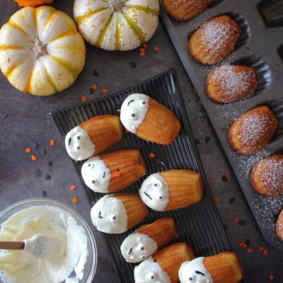 Pumpkin Madeleines dipped in White Chocolate