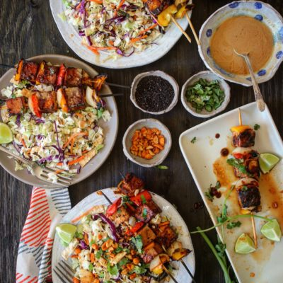 Earthbound Farm Asian Salad with Grilled Tofu Skewers