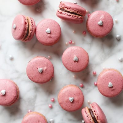 Strawberry-Beet Macarons with a Dark Chocolate Ganache filling