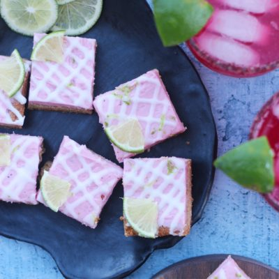 Lime Cookie Bars with Hibiscus-Lime Buttercream and Tequila drizzle