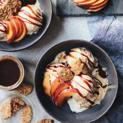 """Ala Mode Peach Pie"" Ice Cream"