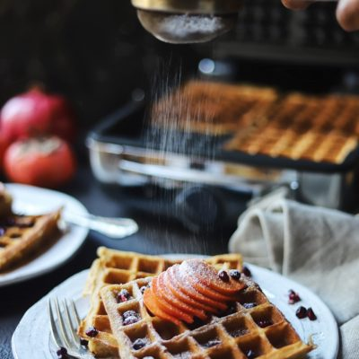 Persimmon Spiced Waffles with Persimmons, Pomegranate Arils and Toasted Pecans