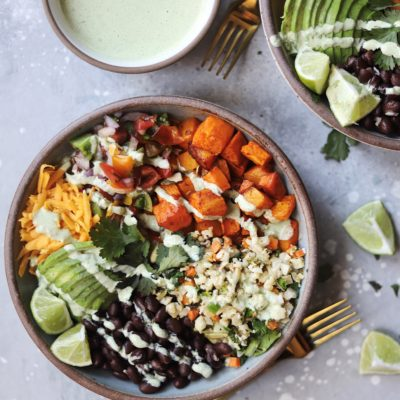 Mexican Burrito Bowl with a healthier Cilantro-Lime Fried Rice