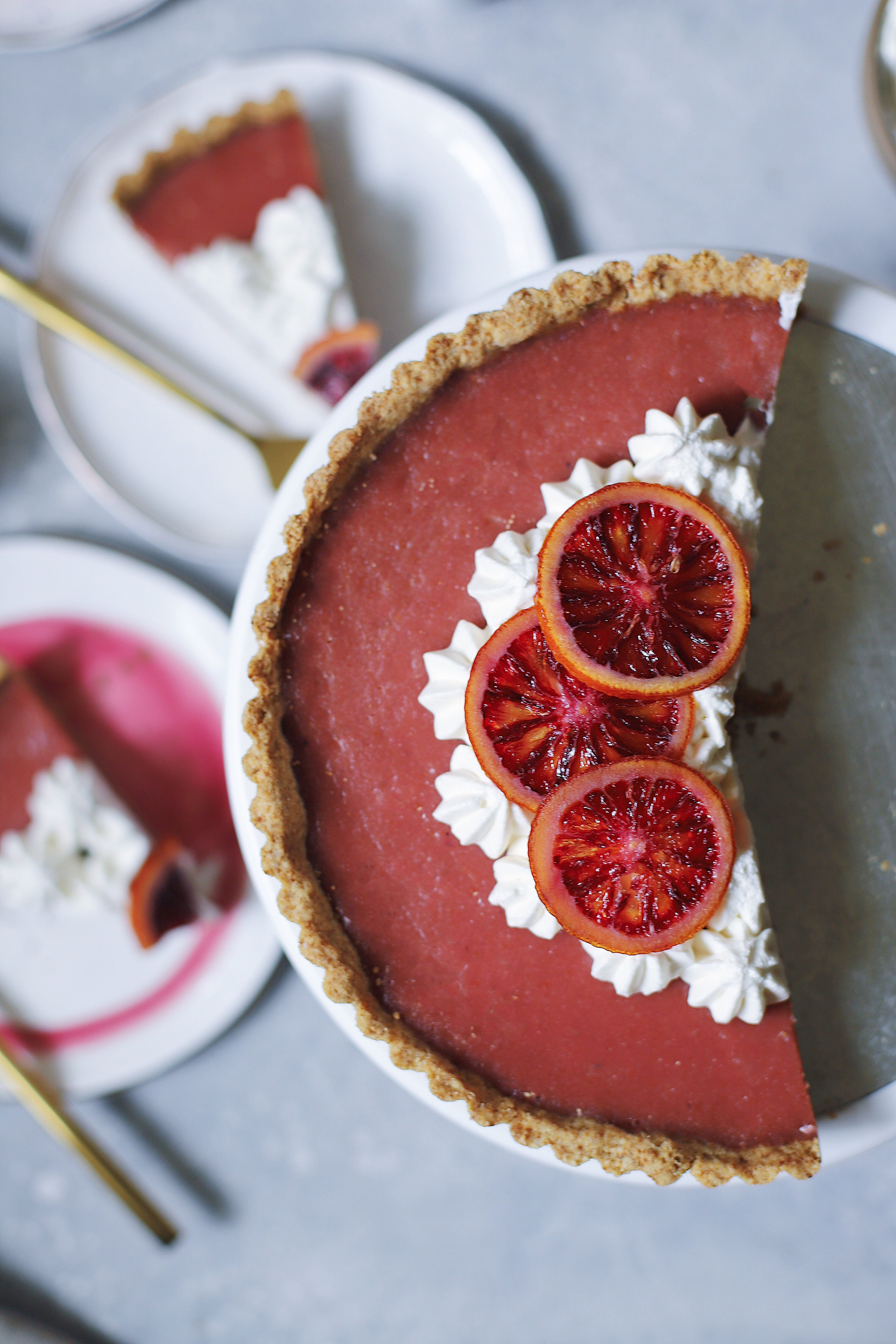 Blood Orange and Hibiscus Curd Tart with a Gingersnap Crust and Candied Blood Orange slices