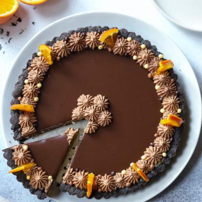 Chocolate Earl Grey Tangelo Mascarpone Tart