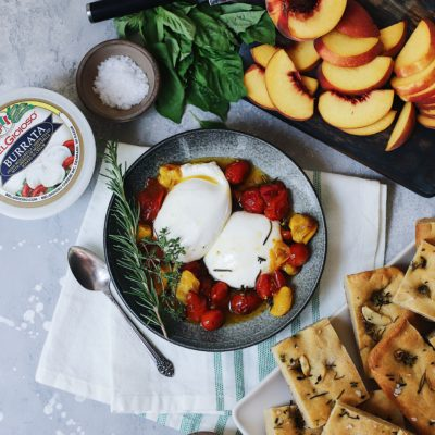 Burrata with Tomato Confit, Peach, Basil and Rosemary-thyme-garlic Focaccia