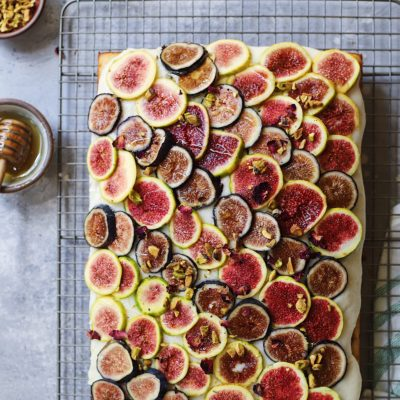 Fig Jam and Cardamom Cake with Goat Cheese Mascarpone Frosting and Fresh Figs