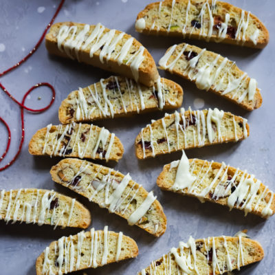 Day 4: Cherry Pistachio-Almond Star-Anise Biscotti with a white chocolate drizzle