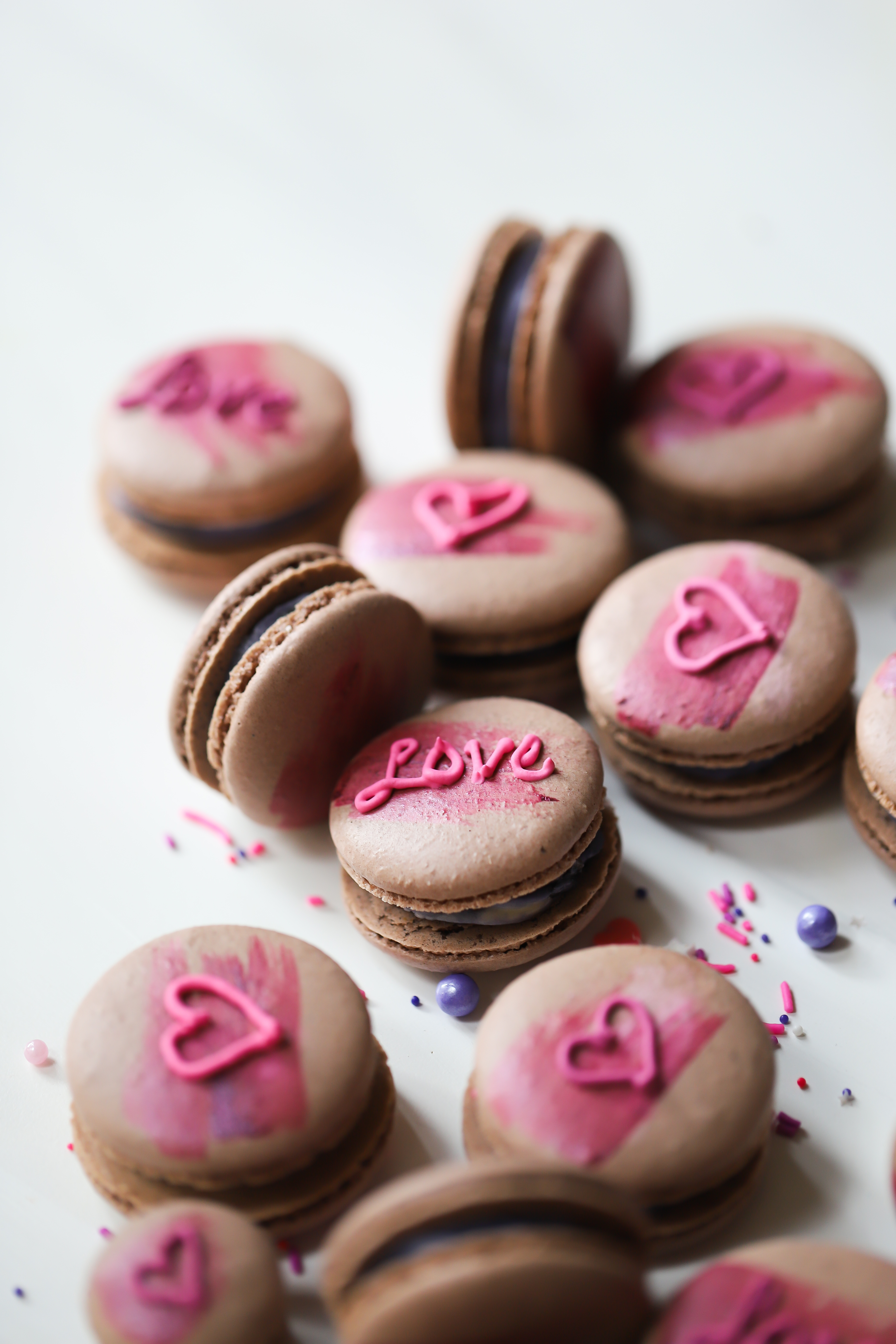Chocolate Macarons with Dried Fig and Rose Jam Buttercream