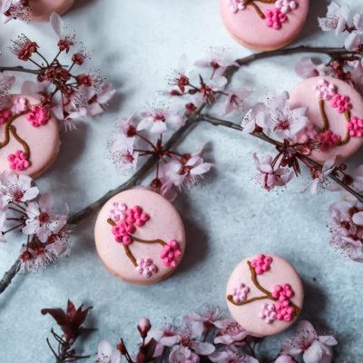 Cherry Blossom Macarons with a Cherry Blossom Buttercream and Cherry Blossom Jam