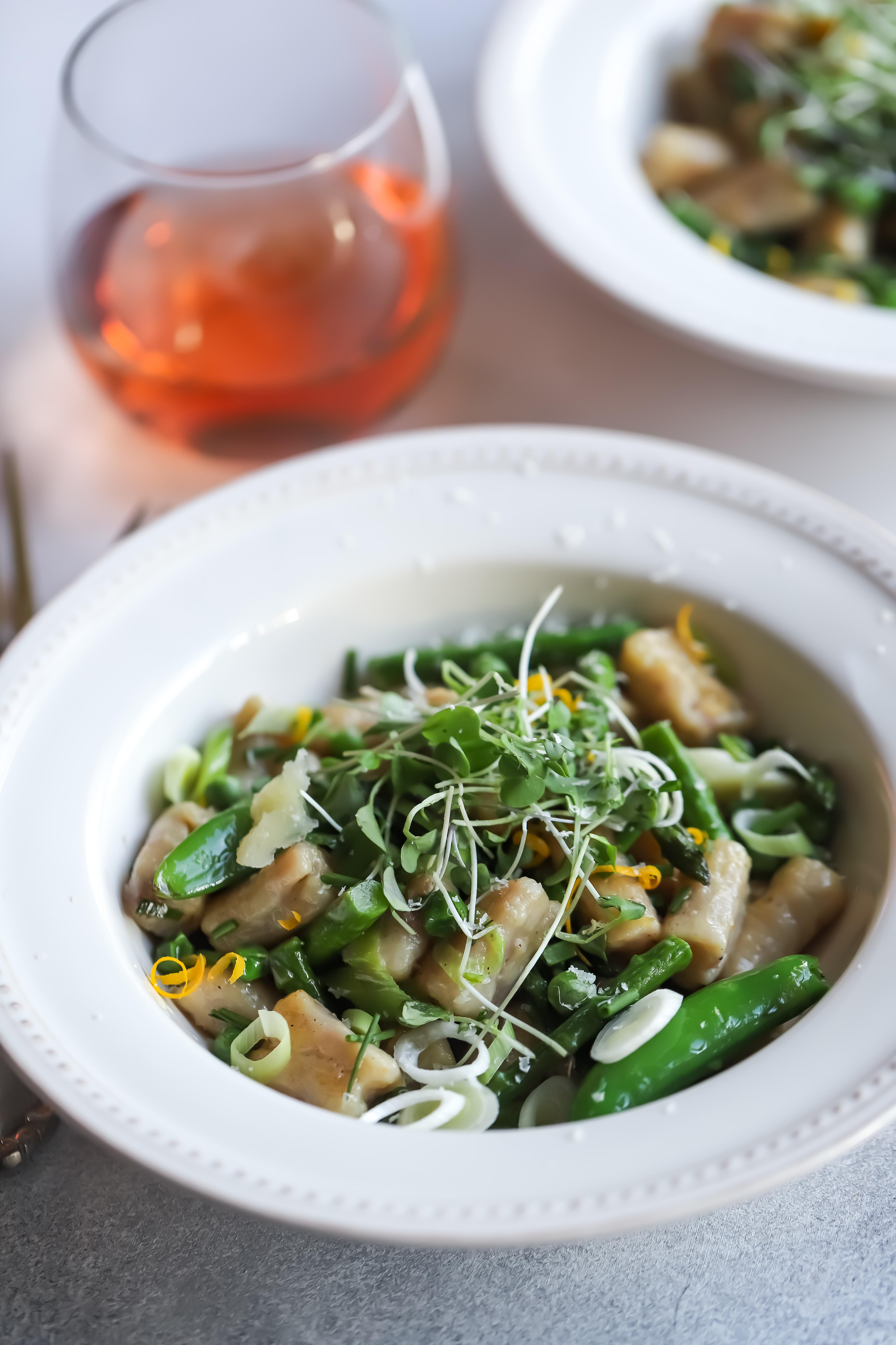 Meyer Lemon Potato Ricotta Gnocchi with Spring Vegetables
