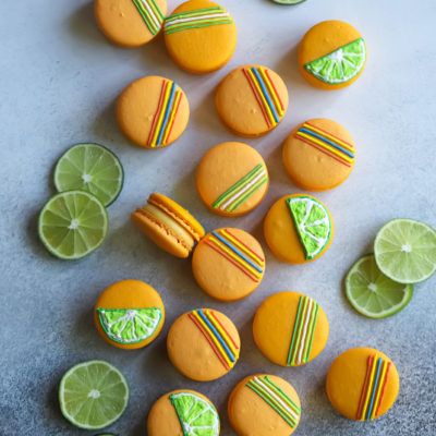Mango Macarons with a Mango Tequila Lime Buttercream and Passion Fruit Curd filling