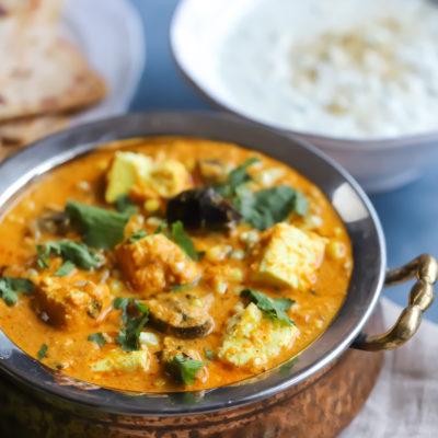 Paneer, Mushroom and Corn Curry