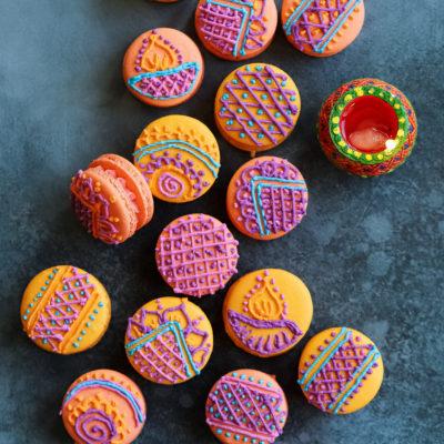 Mango-Saffron Henna Macarons