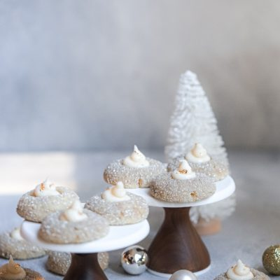 Sweet Treat 1: Thandai Thumbprint Cookies with Pear and Spice Jam Buttercream