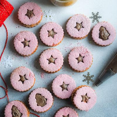 Sweet Treat 2: Raspberry Hazelnut Linzer Cookie with a Cocoa Hazelnut Praline Buttercream