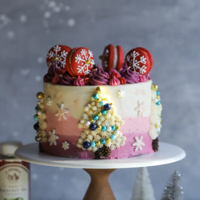 Gingerbread Hazelnut Oil Cake with Ombre Cranberry Buttercream Frosting