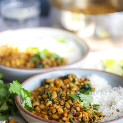 Black Eyed Peas and Spinach Curry