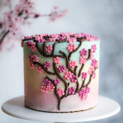 Cherry Blossom Cake with Cherry Blossom Buttercream Frosting