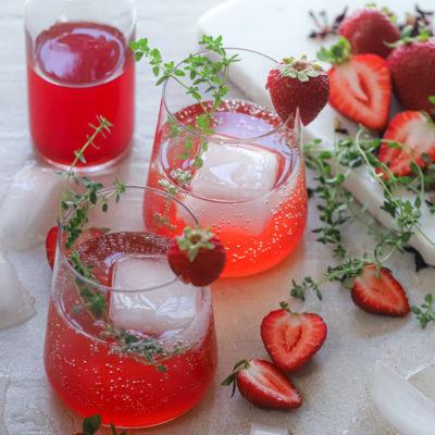 Strawberry and Hibiscus Shrub Spritzer