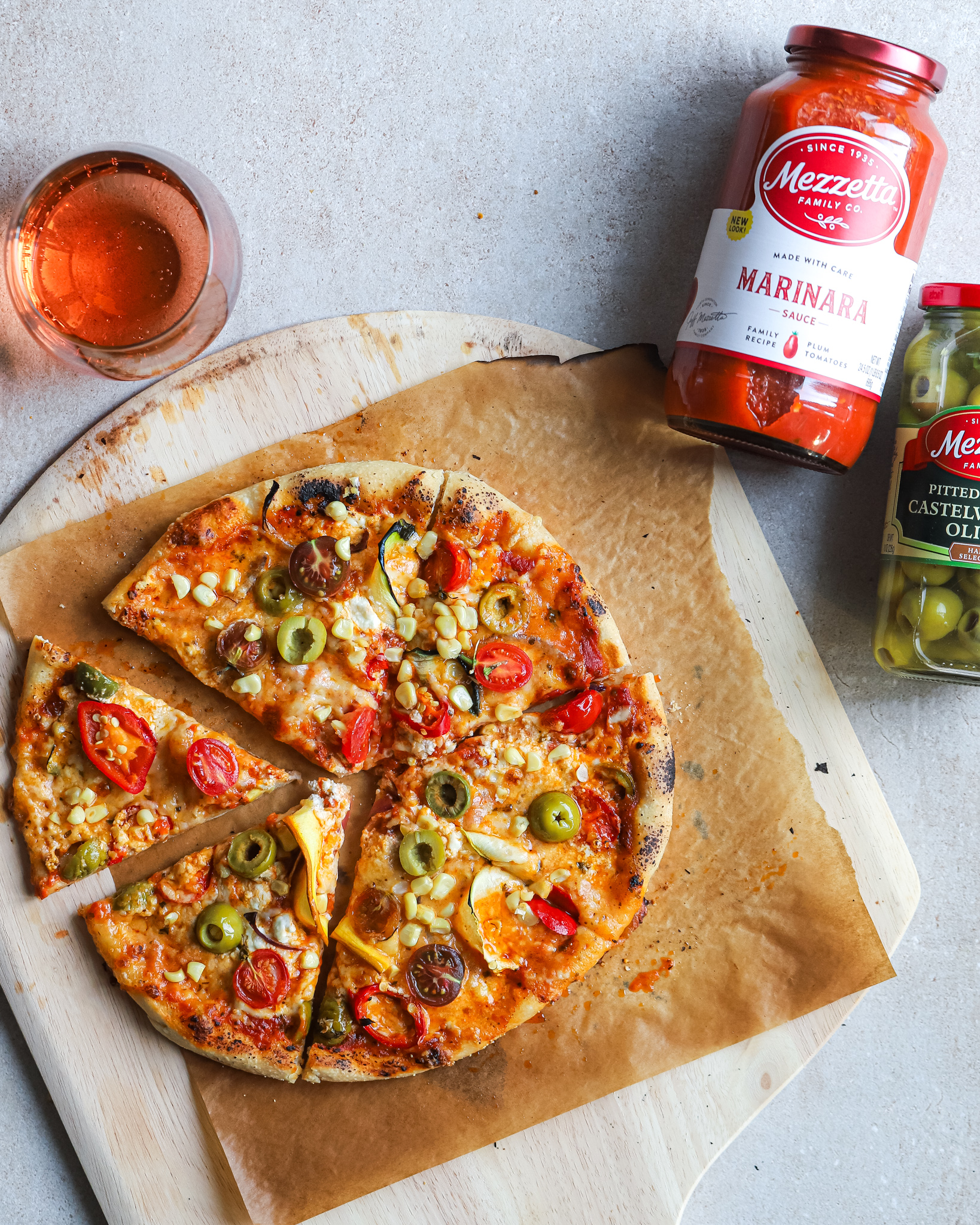 baked pizza with product