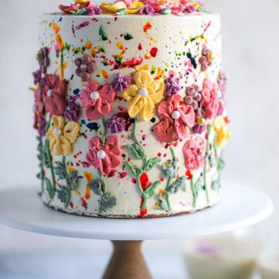 HOLI Thandai Spring Cake with Rose Swiss Meringue Buttercream and Strawberry-Rose Petal Jam
