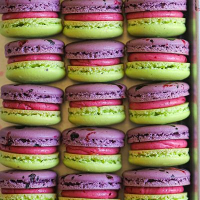 Blackberry Macarons with Blackberry Buttercream and Lime Curd