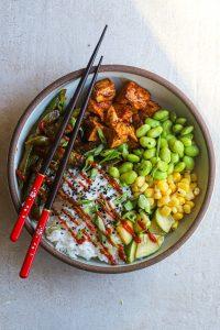 asian inspired tofu veggie bowl