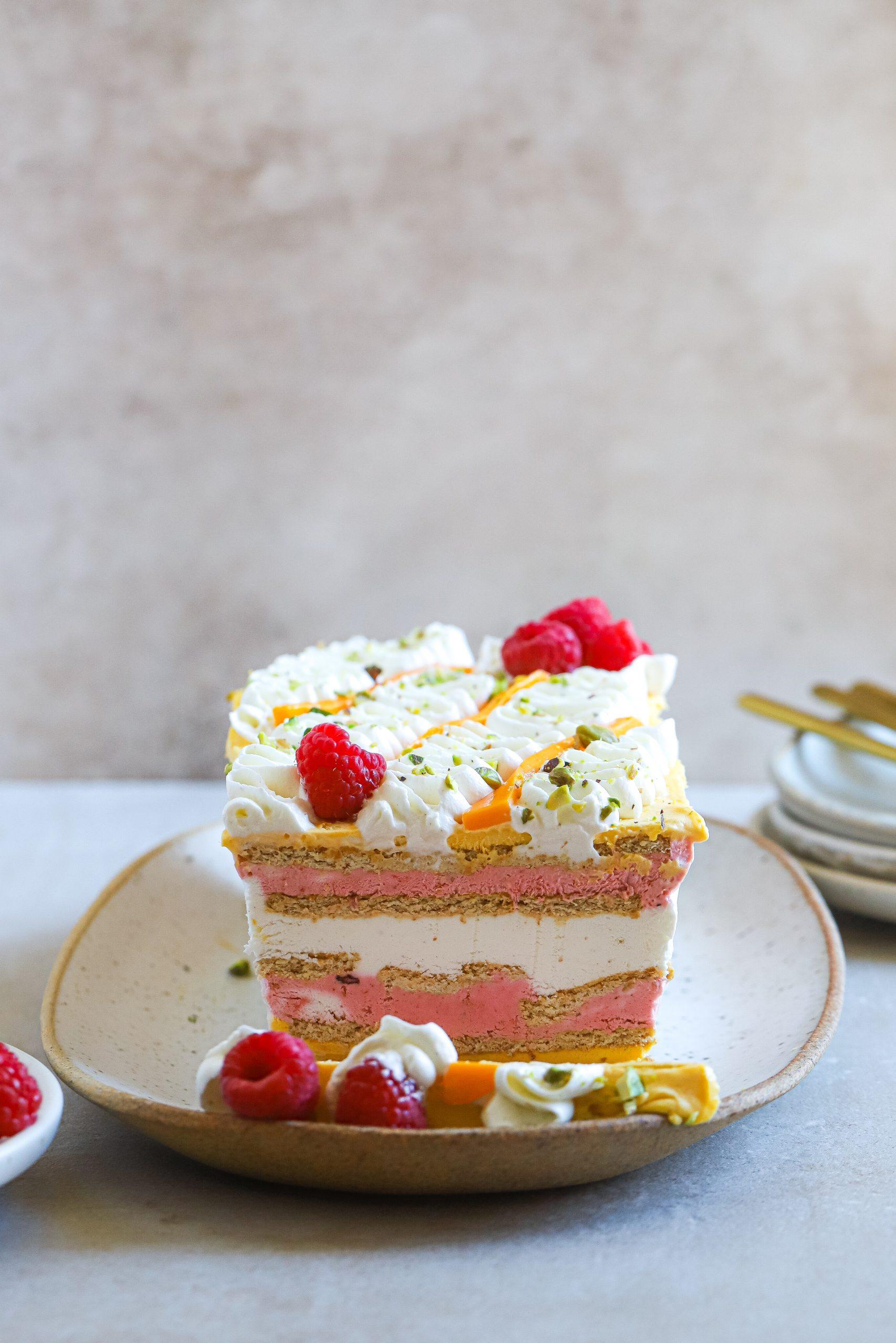 Mango Raspberry Icebox Cake